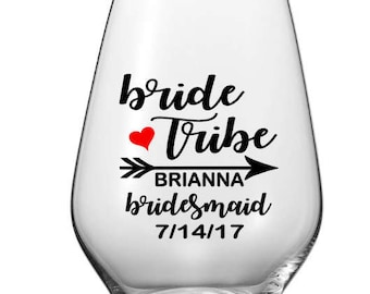 Personalized Stemless Wine Glass, PLASTIC Custom Bride Tribe Cups, Personalized Party Cups, Bachelorette Party Cups