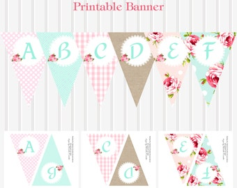 Shabby Chic Printable A-Z Alphabet BANNER by Marbella Printables
