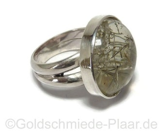 Silver with rutilated quartz ring