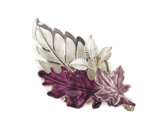 Signed KC Leaf Brooch - Vintage Purple Silver Tone Large Leaf Pin