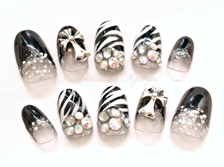 Nail set sexy nail zebra nail animal print nail black