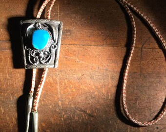 Navajo Bolo Tie with Turquoise
