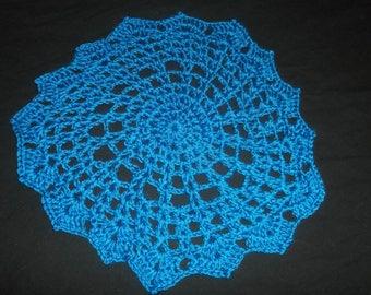 Large Blue Crocheted Doily -100% Handmade