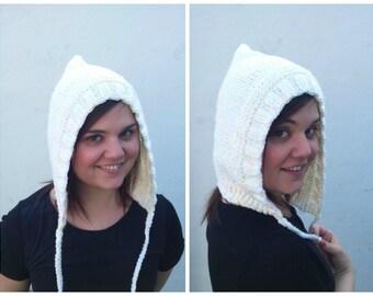 Cream and neon wool hood, knit hood, cream hood, wool hood, knit cream hat, knit wool hat, wool cream hat, winter hat, hat braid, neon hat