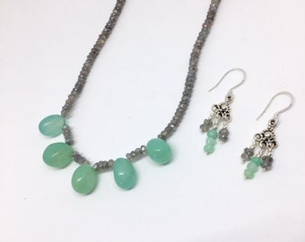 Chrysoprase and Labradorite Necklace Set - Chrysoprase Jewelry - Labradorite Jewelry - Gemstone Necklace - Statement necklace - Martinique