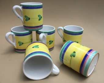 Pottery/Clay Coffee Mugs / Set of Six / New Condition / Pastels-Yellow, Blue, Green & Pink