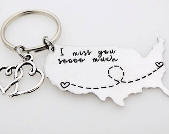Going away gift - Long distance USA Map - Long distance couples gift - Long distance friends - LDR - Lon distance family living away college