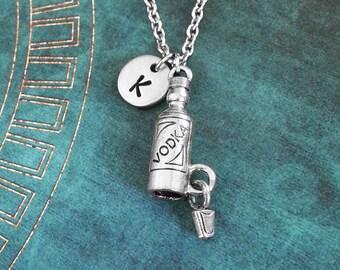 Vodka Necklace Shot Glass Necklace 21st Birthday Gift Bartender Jewelry Vodka Jewelry Vodka Bottle Vodka Charm Necklace Alcohol Jewelry