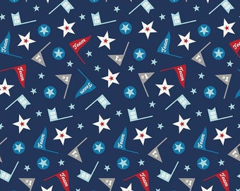 Play Ball 2 FLANNEL in Team Navy for Riley Blake - 1/2 Yard