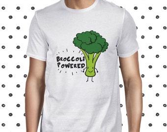 Broccoli Powered Cute Vegan Tee Vegetarian Tee Funny Vegan Tshirt Vegan Shirt Plant Based Tee Cute Plant Tee Plant-based Tee Veggie T-shirt