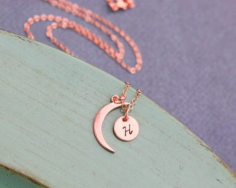 Crescent Moon Necklace Rose Gold Moon Charm • Small Moon Tiny Miniature Moon Jewelry •Custom Initial Friend Gift Moon Thin