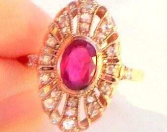Sz 7, Solid 9K Rose Gold, 1.00ctw Genuine Ruby & Rose Cut Diamond Ring, Vintage, Art Deco Design, Ladies Gift, Promise Ring