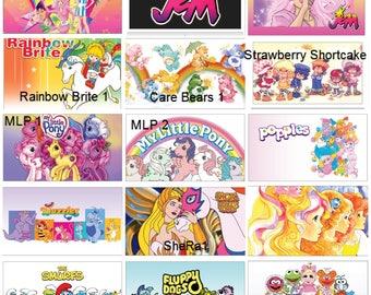 MAGNET featuring Retro Saturday Morning Cartoons 80s 90s (Select Cartoon Name)  Care Bears, My Little Pony, Strawberry Shortcake, Jem +