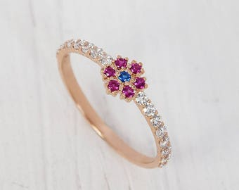 Sapphire engagement ring, Ruby engagement ring, Rose gold ring, Minimalist ring, Flower ring, Sapphire ring gold, Ruby ring gold
