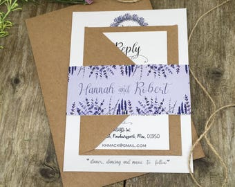 Rustic wedding invitations purple lavender wedding invites, summer wedding, country  wedding, Provincial wedding, mediterranean wedding