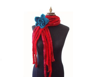 Hand knitted Scarf - Knit Flower Brooch - Knit Lariat - Warm Scarf - Winter accessory - Gift For Her - Neckwarmer - Red Scarf - Cobweb Scarf