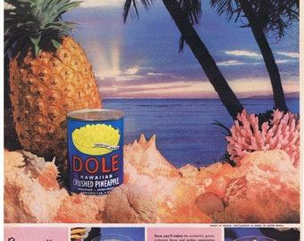 1952 Anton Bruehl DOLE Pineapple Sunset at Hawaii Print Ad seashells
