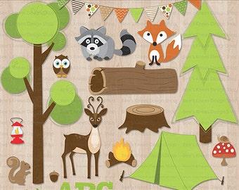 Camping Great Outdoors Woodland Clip Art Digital Scrapbook - Instant Download