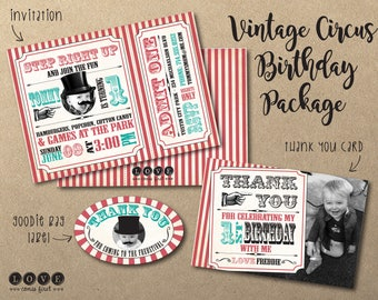 Vintage Circus Ticket Custom Photo Birthday Invitation Package with Thank You and Goodie Bag Label Printables - Ring Master Mustache Top Hat