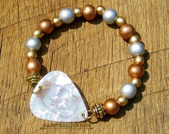 Guitar Pick Bracelet Shine On Mason Jar copper silver gold wood beads Southern charm pride saying phrase moonshine country girl rocker music