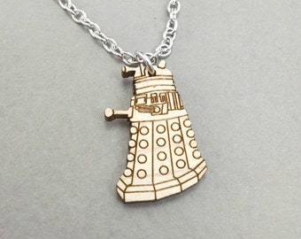 "Doctor Who Dalek Necklace - Maple Wood - Bronze or Silver Chain - 18"" or 24"""