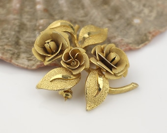 Gold Plated Rose and Leaf 3D Shaped Metal Brooch