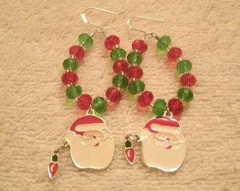 Santa Enamel Charm Red and Green Crystal Bead Dangle Holiday Earrings