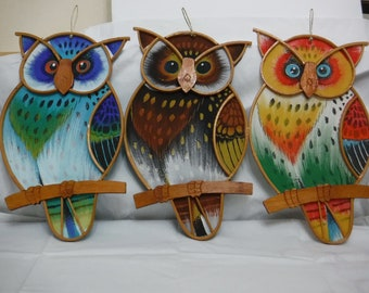 Colorful Hand-Painted Owl Wall-Hanging Art - (Set 0f 3)