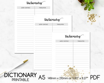 Dictionary Printable, Learn Foreign Languages, List, A5, Digital Planner Page, Double-sided Printing, PDF