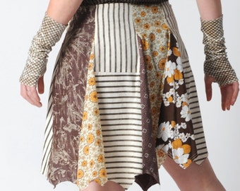 Brown patchwork skirt, Brown and yellow short skirt, Floral cotton skirt, Womens clothing, Womens skirts, size UK 16, MALAM