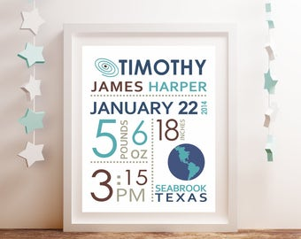 Outer Space Nursery Subway Art -CHOOSE COLORS- Birth Stats Wall Art Baby Gift For New Parents, Baby Keepsake Personalized Baby Announcement