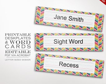 Classroom Nameplate - Printable Editable Deskplate Word walls Cards Instant Download - Teacher Tools Homeschool Chores