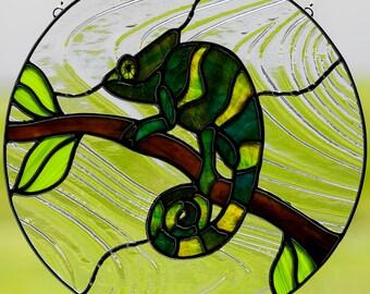 Stained glass chameleon suncatcher, stain glass green chameleon ornament, lizard, glass chameleon, reptile art, lizard