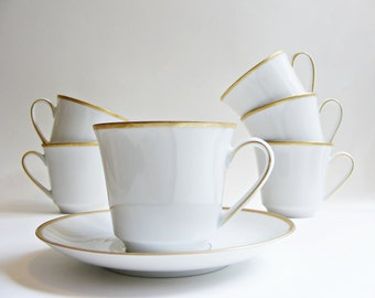 Vintage Cup and Saucer Set White Mid Century Wissterling China
