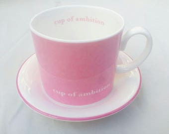 Dolly Parton Cup of Ambition.  China Cup and Saucer.  Strong Pink and White.  Made in Stoke, UK.  Designed in London.