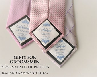 A set of tie patches for groomsmen, tie patches for groom, best man and groomsmen, wedding neck tie patches, keepsake gift for groomsmen