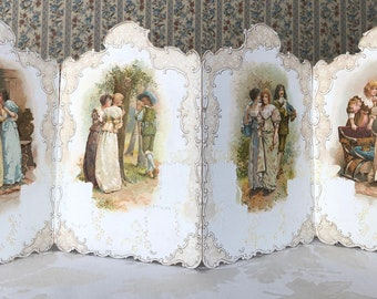 LARGE Antique Victorian 4 panel paper card screen Women and Men in Love
