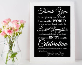 Wedding Thank You Sign | Thank You Wedding Poster | Thank You to Our Family and Friends | Live Laughter Celebration | Elegant Wedding Thanks