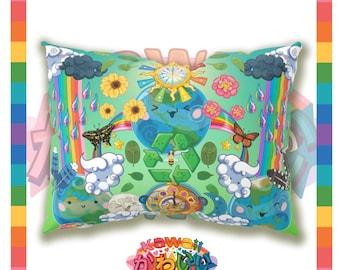 Kawaii Universe - Cute World Peace Showers Designer Bed Pillow