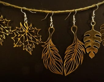 Golden Colored Glossy Laser Cut Earrings