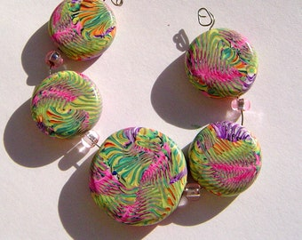 Sea Waves Artisan Polymer Clay Bead Set with Focal and 4 Beads