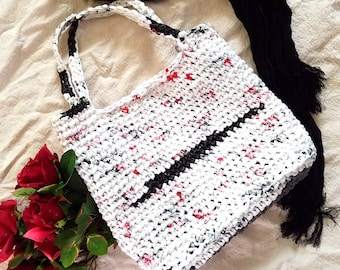 Small White, Black and Red Plarn Tote Bag