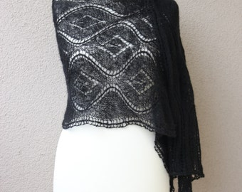 black lace stole, elegant wrap, summer scarf, mohair shawl