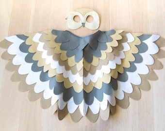 Barn Owl Costume Kids Bird Costume Barn Owl Mask and Wing Cape Owl Toddlers Costume Barn Owl Halloween Costume for Boys, Costume for Girls