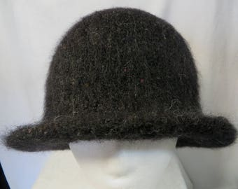 Hat Wool Felted Black Spec with Flared Brim
