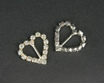 "7/8"" Heart Shaped Rhinestone Metal Buckle DIY, Ribbon Sliders, Favor box decor, wedding decor, Choose Pack amount"