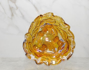 Vintage Amber Carnival Glass Loganberry Candy Dish, Loganberries and Leaves, Bon Bon Dish, Amber Bowl, Amber Glass, Berries, Iridescent