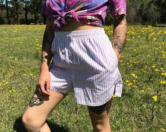 Vintage Hunt Club High Waisted Purple And White Striped Elastic Waist Lounge Shorts | medium
