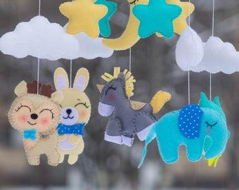 Baby mobile Baby Crib Mobile, Felt Mobile, star cloud mobile,Baby mobile,  unicorn mobile, deer mobile owl mobile  bunny mobile