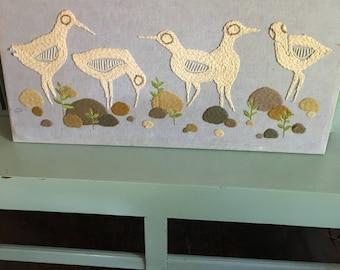 Crewel Work Birds Sandpipers Wall Hanging Wall Art 1960s 1970s